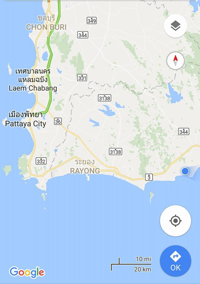 Karta över provinsen Rayong